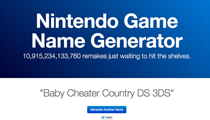 Nintendo Game Name Generator